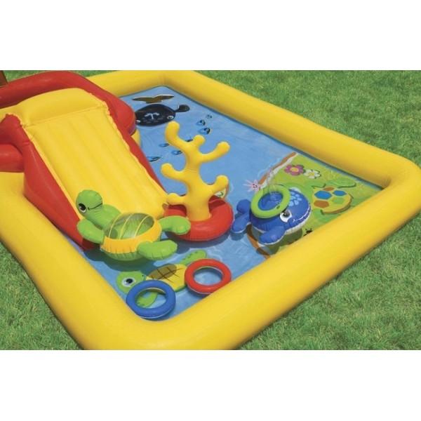Intex 57454 надувной игровой центр-бассейн с пальмой и горкой ocean play center 254x196х79 см(от 2 лет)